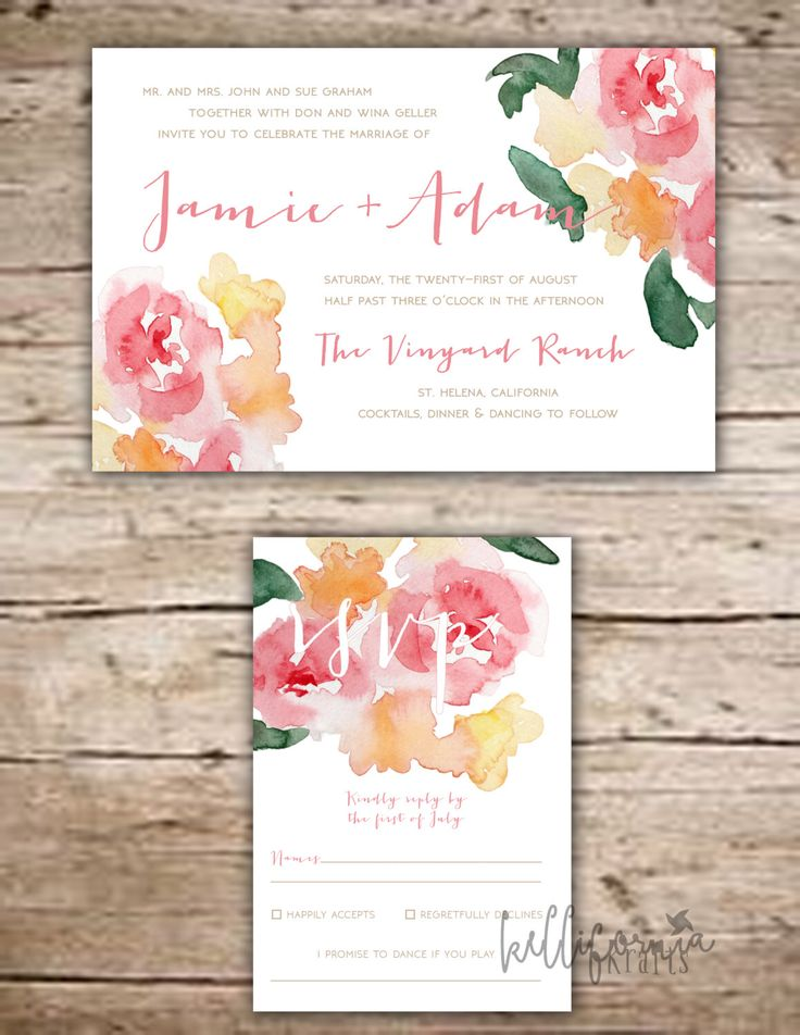 Floral Watercolor Invitation Package, Water Color Invitation, Coral Floral Invitation, Spring Wedding, Summer Wedding by KelliforniaKrafts on Etsy https://www.etsy.com/listing/263637253/floral-watercolor-invitation-package