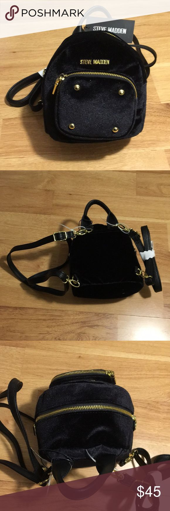Brand New with tags Steve Madden mini backpack✨ Brand New with tags Steve Madden mini backpack✨ Adorable black velvet and gold backpack. Perfect condition. Adjustable straps!! Steve Madden Bags Mini Bags