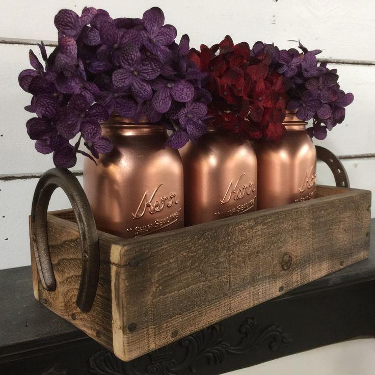 Painted Mason Jars, Mason Jar Caddy, Wedding Centerpiece, Rustic Wedding,Copper Penny Mason Jars,Rustic Centerpiece,Horseshoe Crate,Wood Box by LynxCreekDesigns on Etsy