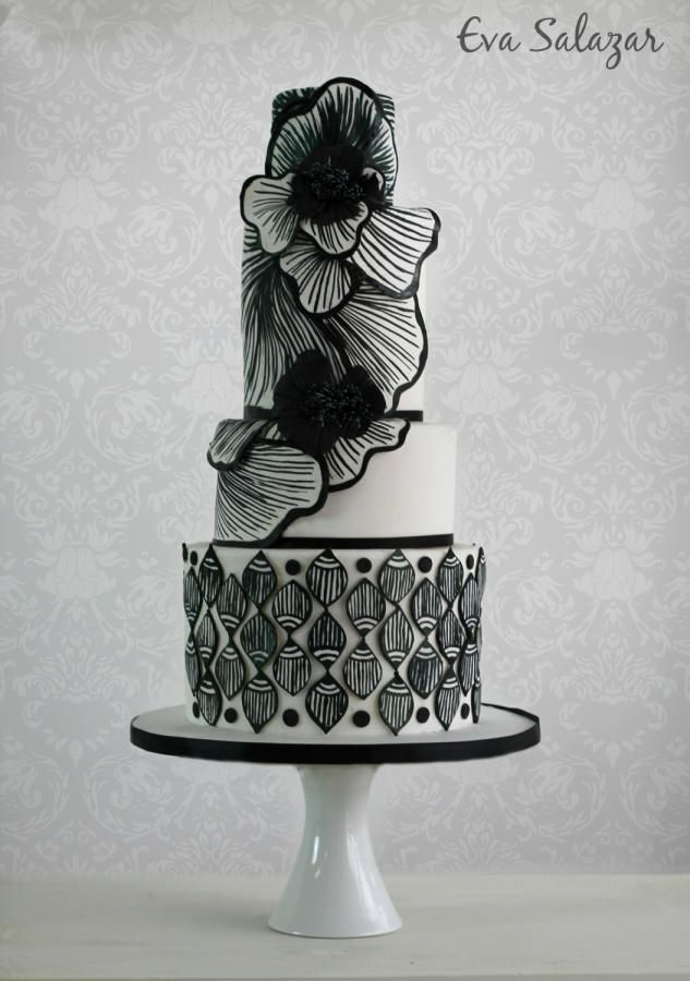 Black and White Fantasy Cake by Eva Salazar  - http://cakesdecor.com/cakes/254895-black-and-white-fantasy-cake
