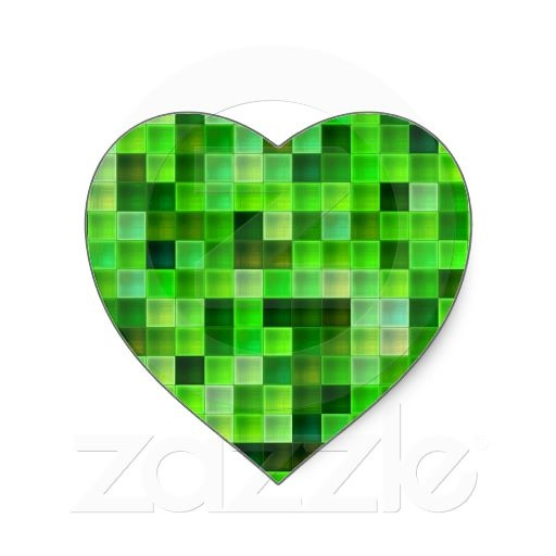 Green Bathroom Tile Squares pattern Heart Sticker | Heart, Squares and
