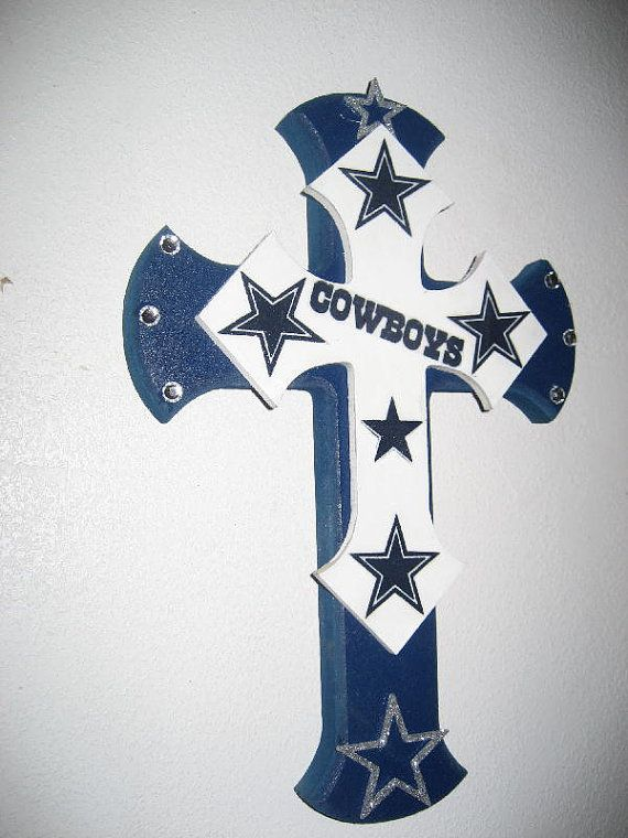 Wooden Wall Cross for the Dallas Cowboy Fan by cthorses66 on Etsy, $30.00