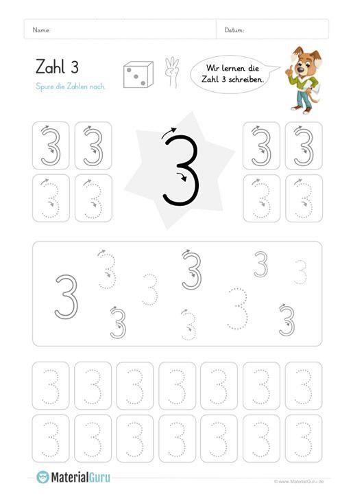 ein kostenloses mathe arbeitsblatt zum schreiben lernen der zahl 3 auf dem die kinder. Black Bedroom Furniture Sets. Home Design Ideas