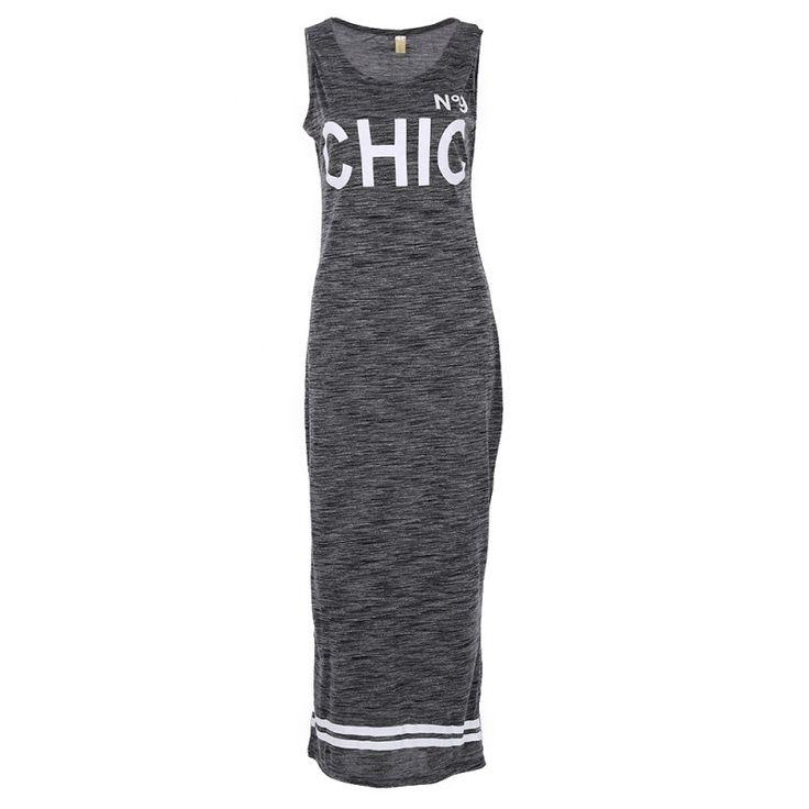 Fashion No 9 CHIC Print Summer Sleeveless Side Split Sexy Tank Maxi Dress Bodycon Women Robes