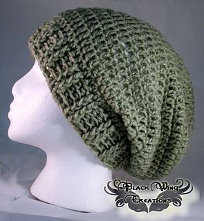 Basic Slouchy Beanie crochet pattern by Stephanie Kelley. Worsted weight.