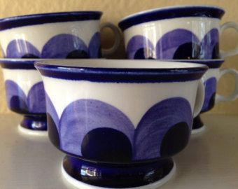 Set of 5 Vintage Mid Century Modern Arabia Finland Paju Tea or Coffee Cups in Blue and While