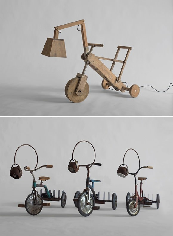 Amazing upcycled tricycle lamps