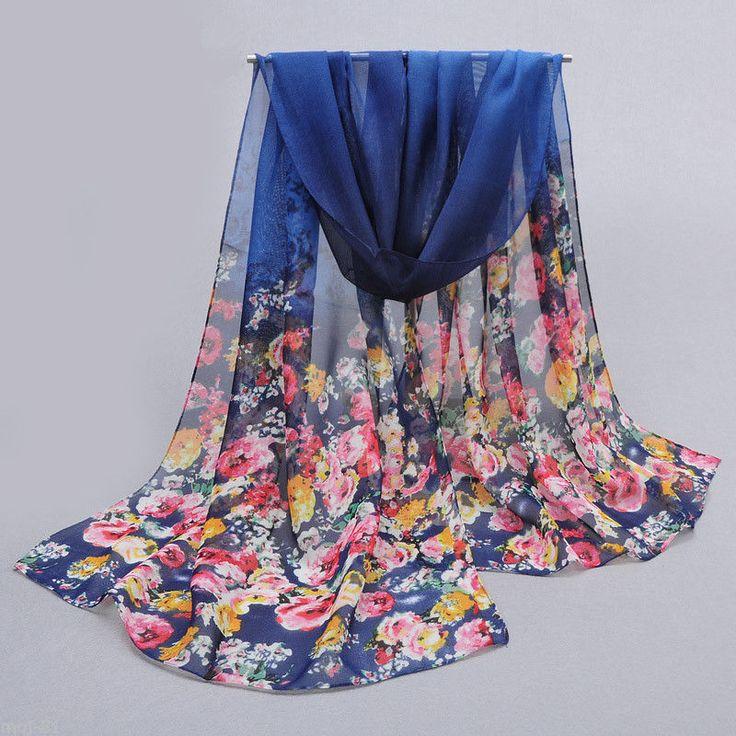 Fashion Women's Long Soft Wrap Shawl Navy Blue Floral Chiffon Scarf Stole