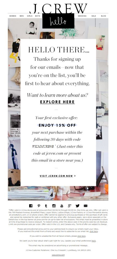 J. Crew Welcome Email