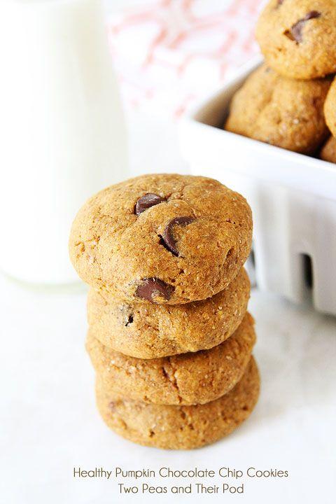 Vegan Pumpkin Chocolate Chip Cookie Recipe on twopeasandtheirpod.com #recipe
