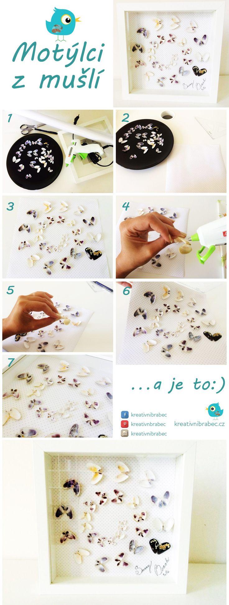 Návod na obrázek s motýlky z mušlí