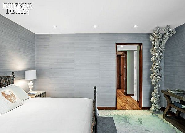 Trooping the Colors: Revamp Enlivens Village Apartment   A Christian Liaigre console in the master bedroom. #design #interiordesign #interiordesignmagazine #bedroom #sculpture #decor