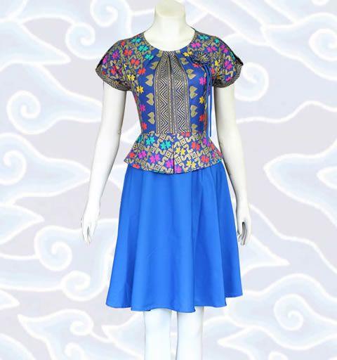 baju modern batik dress wanita terbaru dm85 warna biru motif prodo  katalog lengkap di http://senandung.net/baju-dress-batik-modern/
