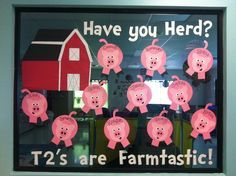 """farm themed preschool bulletin board - HAVE YOU """"HERD""""? Use different farm animals for each class - chickens and pigs"""