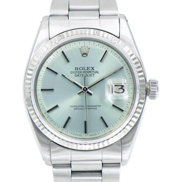 Preowned Rolex Stainless Steel Oyster Perpetual Datejust Custom Dial... (59,835 MXN) ❤ liked on Polyvore featuring jewelry, watches, multiple, wrist watches, stainless steel watches, vintage jewellery, vintage wrist watch, pre owned watches and rolex wrist watch