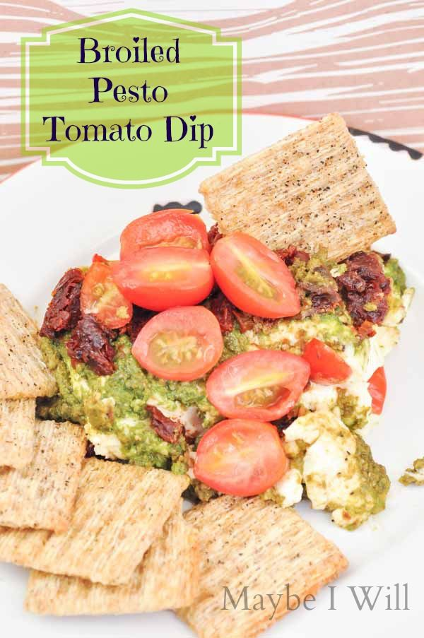 Maybe I Will...Broiled Pesto Tomato Dip... 3 ingredient appetizer that will WOW!!! So Easy and So Good! #appetizer #pesto