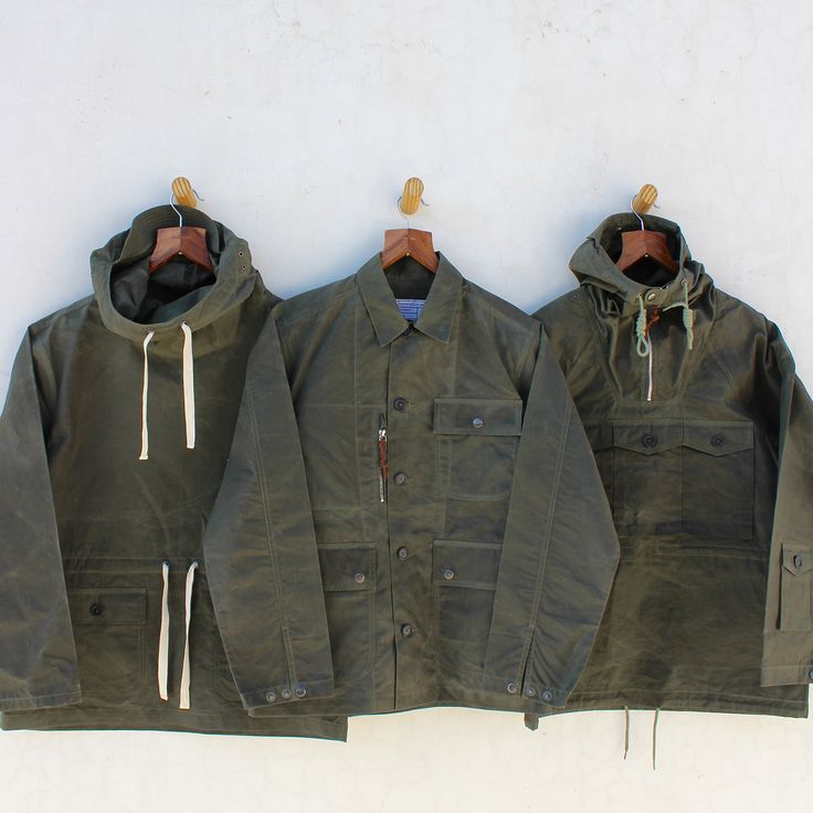 Convoy Smock, Pasmore Jacket & Tryfan Anorak in olive waxed cotton, all by Hawkwood Mercantile. Contact: richard@hawkwoodmercantile.com