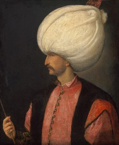 Sultan Suleiman II (1495/1496-1566) in profile, half-length   Venetian   30's 16th century
