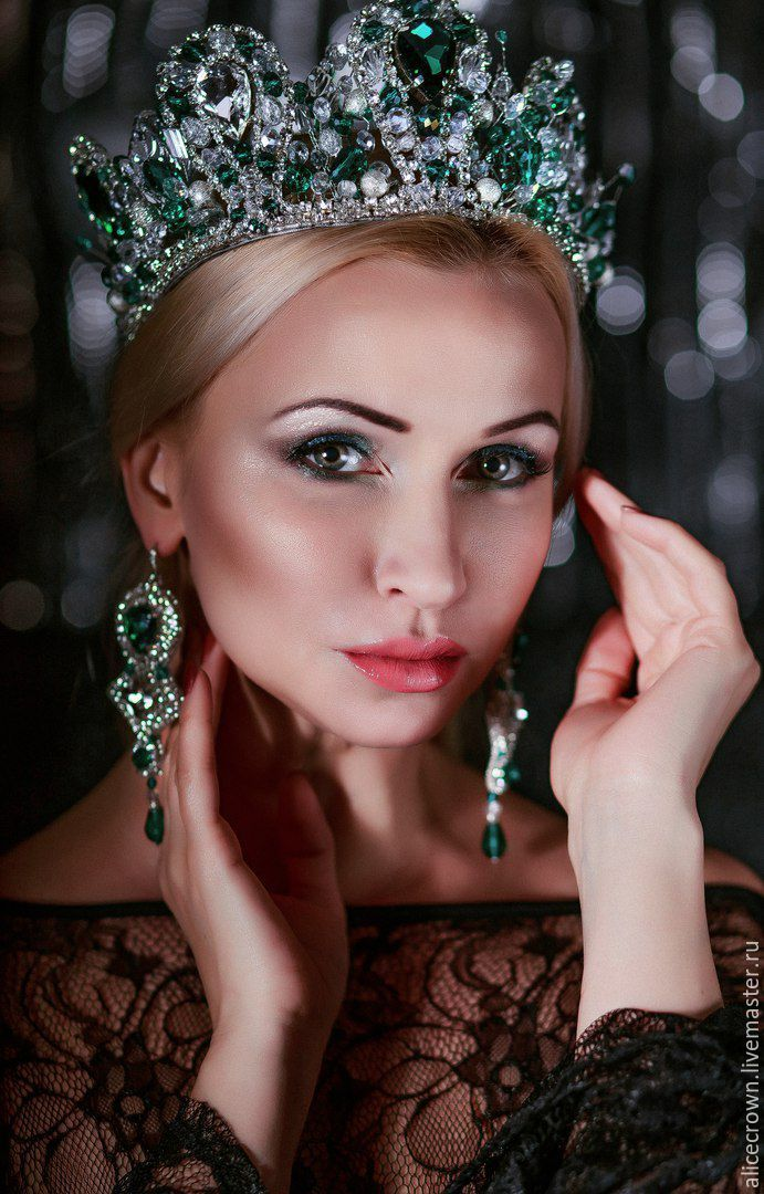 """Купить Свадебный набор """"Monika"""" тиара серьги и браслет - морская волна, изумрудный, тиара, корона"""