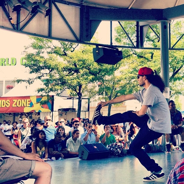 Breakdancing on Redpath stage