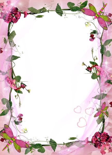 Transparent Pink  Frame with Pink Flowers