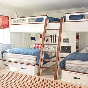 Twin beds over queen beds - bunk room