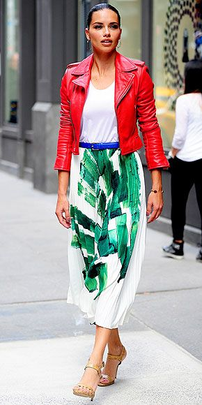 Leather jacket and midi skirt - nothing Christmas-y about this red and green