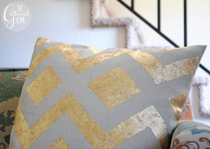Stick some gold leaf on canvas pillow covers to create statement pillows.  Awesome DIY Projects To Decorate Your Apartment • Page 2 of 5 • BoredBug
