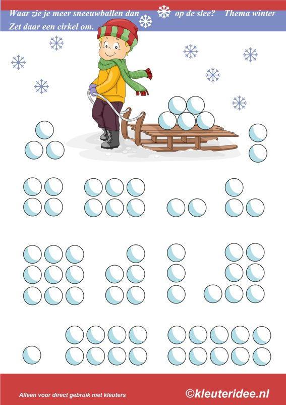 Waar zie je meer sneeuwballen dan op de slee, thema winter, kleuteridee , where you see more than snowballs on the sled, free printable.