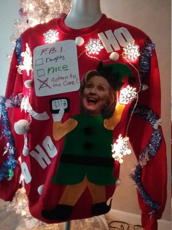 Hillary Clinton Christmas.Ugly Christmas Sweater Hillary Clinton Funny Lights Up Medium Large