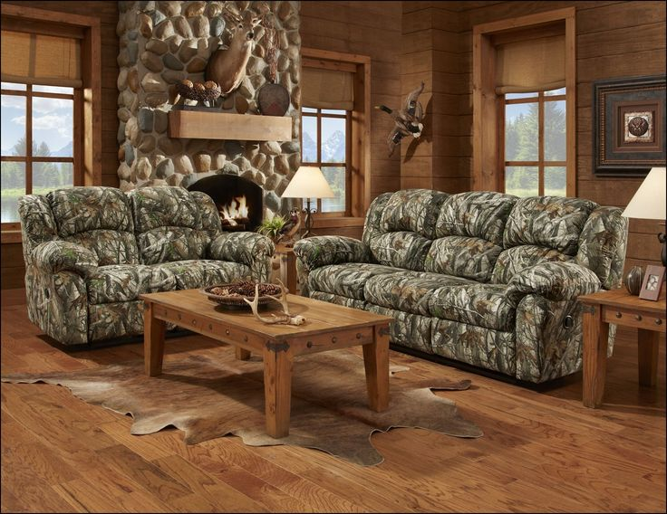 Reclining Sofa Camo Couch and Loveseat