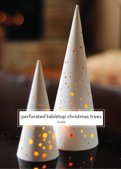25 DIY HOLIDAY DECOR PROJECTS – Perforated Tabletop Christmas Trees