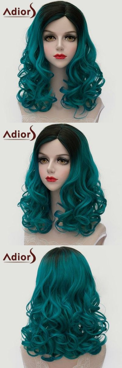 Hair Extensions & Wigs | Trendy Black Ombre Blackish Green Medium Lolita Shaggy Wave Synthetic Wig For Women $15.34
