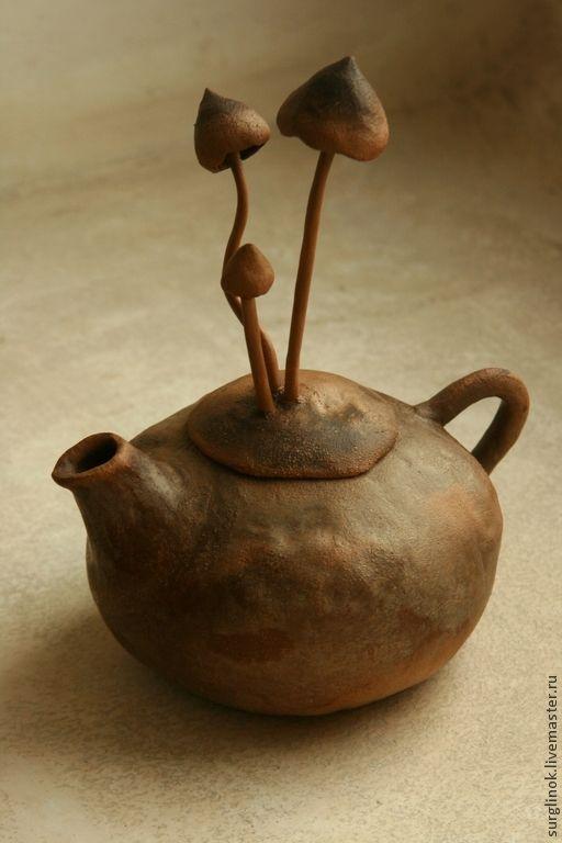 Купить Чайник - коричневый, чайник, глина, глиняная посуда, Керамика, керамика ручной работы