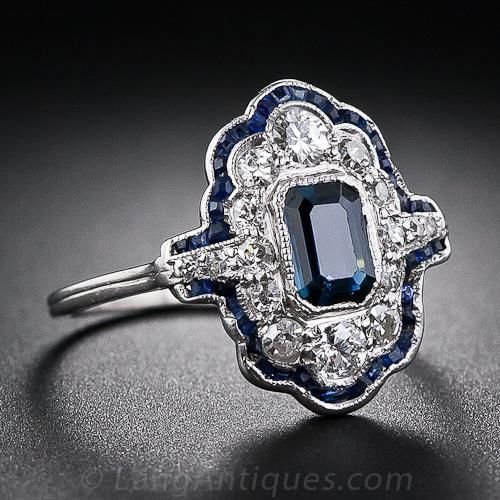 Art Deco Sapphire and Diamond Dinner Ring - 30-1-4951 - Lang Antiques