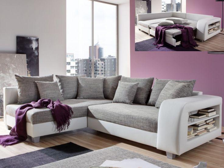 Canapé d'angle convertible tissu et simili KUOPIO - Gris et blanc - Angle gauche