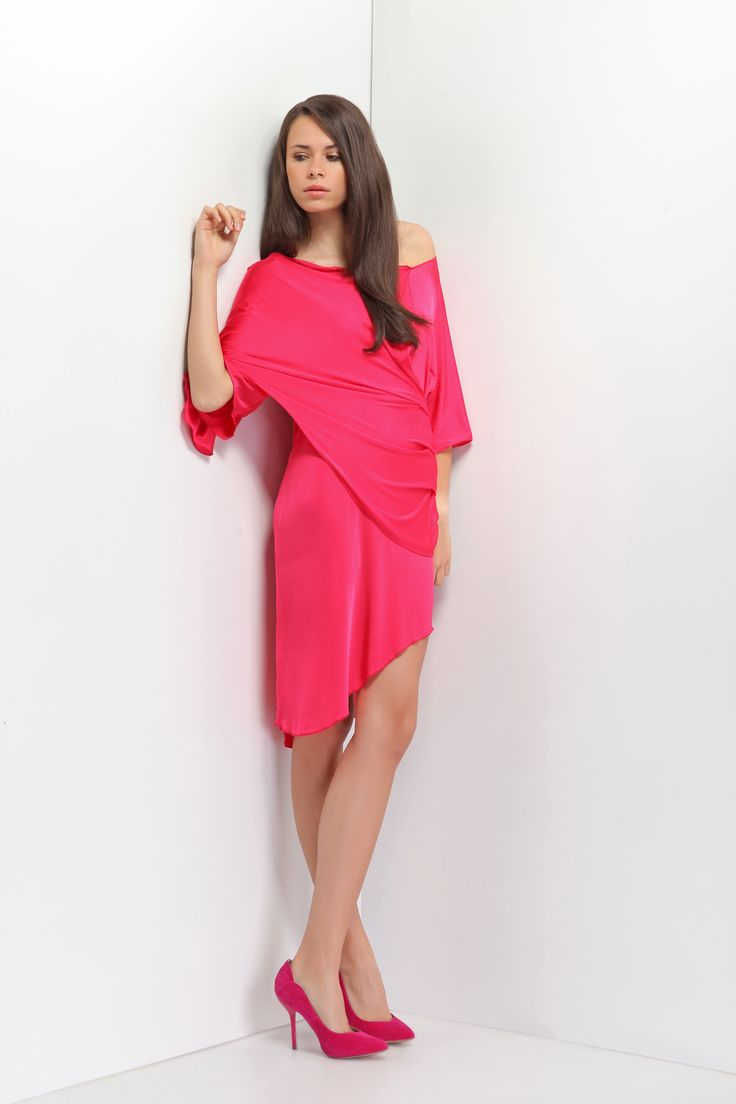 Viscose silk dress in fashionable fuchsia colour. Nicely draped on the front layer. Hit before knee. Perfect for all year events.