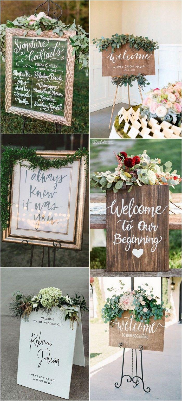 chic greenery wedding signs #weddingideas #weddingdecor