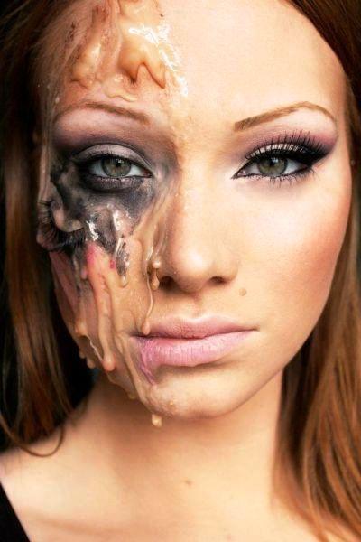 Half-Face Halloween Makeup Ideas                                                                                                                                                      More