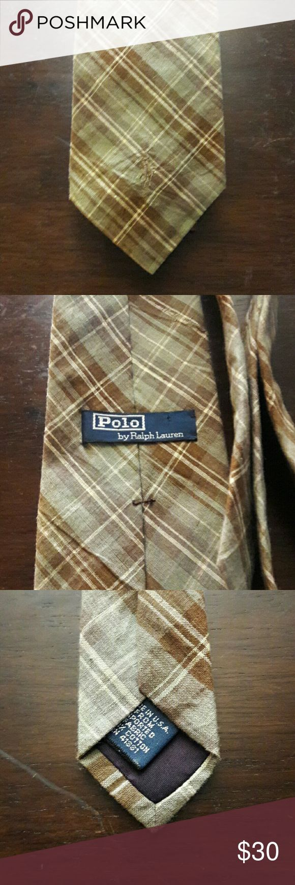 POLO by Ralph Lauren Necktie This awesome POLO by Ralph Lauren necktie is brown, light green and cream. It is made of 100 % cotton. Classic, contemporary, stylish, timeless. In great condition. Polo by Ralph Lauren Accessories Ties