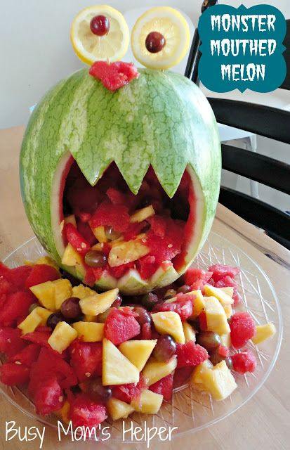 3 fun food ideas for a Monster of a Party!!! from busymomshelper.com #MonsterParty #cupcakes #fruit