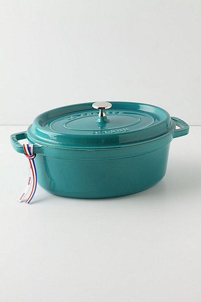 Staub la cocotte oval turquoise le creuset and dutch ovens