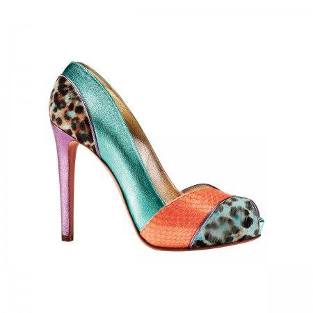 Christy Leopard print pony, metallic leather and snake platform peep toe.