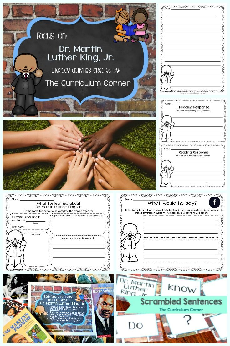 FREE collection of literacy activities focusing on the life of Dr. Martin Luther King, Jr. Created by The Curriculum Corner via @TheCCorner