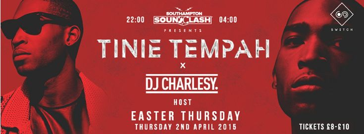 SOTONIGHT | Switch pres. Tinnie Tempah x DJ Charlsey - Southampton - April 2015 - http://www.sotonight.net/event-tickets/switch-pres-tinnie-tempah-x-dj-charlsey-southampton-april-2015/  Tinnie Tempah is coming to Switch Southamptonon the 2nd April 2015 as part of a huge weekend of events! Easter Bank Holiday! Tickets:  £8 Early Bird £10 Standard £15 VIP – includes possible meet & greet and backstage bar access with Tinie!  BUY TICKETS