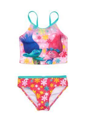 DreamWorks Trolls Pink 2-Piece Tankini Swimsuit Set Girls 4-6x