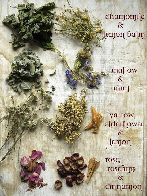 Know and Grow your own tea blends. Many of the herbs shown here are perennial.This photo is so pretty and informative. It's by Wildcraft Vita who shares instructions for blending these herbs into tasty teas.