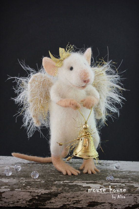 Golden Angel Mouse with Wings Christmas Mouse by MouseHousebyAlina
