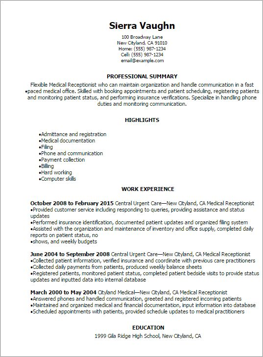 urgent care receptionist resume sample