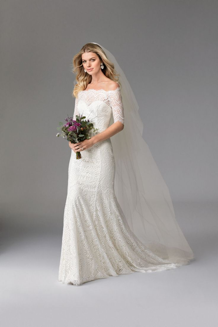 Savannah fitted lace dress with off the shoulder neckline for Medium length wedding dresses